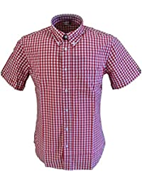 Warrior Burgundy Gingham 100% Cotton Short Sleeved Shirts Small to 5Xlarge …