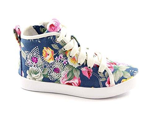 LELLI KELLY LK7278 fantasia jeans scarpe bambina sneakers zip laterale 33