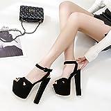 Sandalen High Heels Damenschuhe Thick-Bottomed T Bühne Laufsteg Schuhe 17cm Bankett Schuhe (Color : Black, Size : 35)