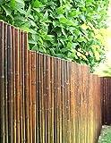 DE-COmmerce Robuster Bambus Holz Sicht Schutz Zaun ATY NIGRA I hochwertiger Windschutz Terrasse, Balkon, Garten I Bambusrohr Zaun mit geschlossenen Rohren 120 cm x 500 cm