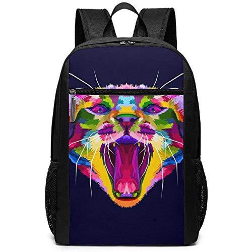 Ivya backpacks Bunter verärgerter Katzenkopf Die Katze knurrt Laptop-Rucksack Jugendschultasche Reise-Klassiker Rucksäcke für Jungen und Mädchen Passend für Laptop und Tablet -
