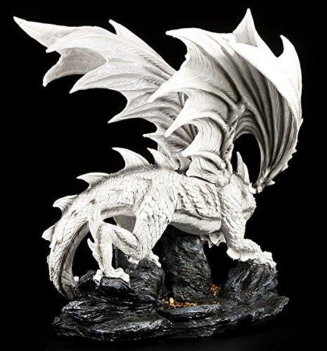 Große weiße Drachen Figur bewacht Schatztruhe - 4