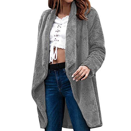 iHENGH Damen Kardigan Top,Ladies Winter Lange ÄRmel Massive Farbe PlüSch Cardigan Jacke Outwear Strickjacke Coat Tops (EU-38/CN-L,Grau) -