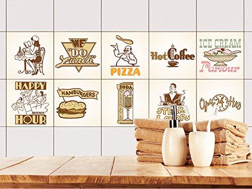 GRAZDesign Fliesenaufkleber Küche Vintage Retro-Set   Wand-Fliesen Aufkleber   Selbstklebende Folie - einfache Verklebung   Wieder ablösbar - für rechteckige Fliesen (10x10cm // Set 10 Stück) (Fliesen Aufkleber Küche Wand)