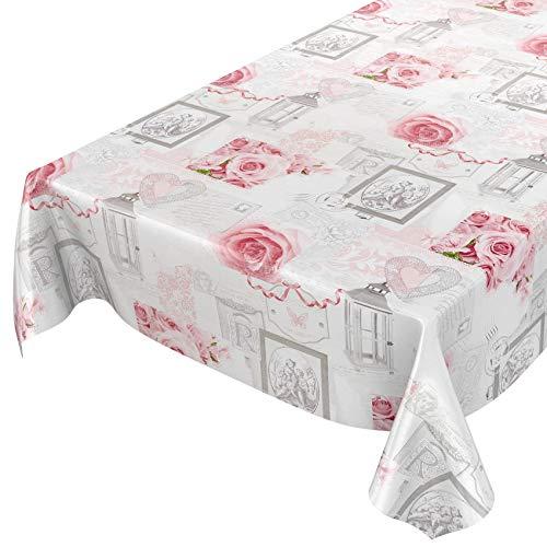 Tovaglia cerata, lavabile, di colore grigio antico, motivo con rose e cuori, dimensioni selezionabili, asciugamani, rosen herzen romantik antik grau, 200 x 140 cm