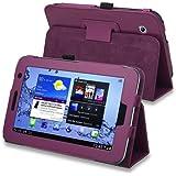 SODIAL(TM) Funda de Cuero con Soporte para Samsung Galaxy Tab 2 7.0-pulgadas P3100/ P3110/ P3113, Color Purpura