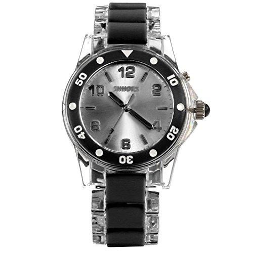 n Armbanduhr, modische Casual Analog Quarz mit 7 Farben Leuchten LED Leder Armband Uhr, transparent schwarz ()