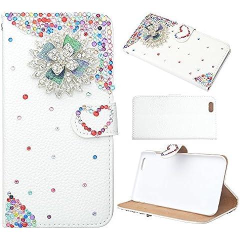 Evtech (tm) Funda de cuero Rhinestone colorido floral Amor-forma blanca de la PU del folio de espalda y la cubierta del soporte del tirón con el teléfono sostenedor y ranuras para tarjetas para LG Optimus G3
