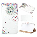 Evtech(tm) Colorful Rhinestone Floral Love-shape White PU Leather Case Folio Back and Flip Stand Cover with Phone Holder & Card Slots for HTC One M8