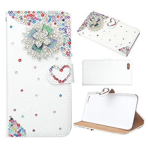 Spritech(TM) Luxury PU Leather Case Iphone 4s Elegant Flower Bling