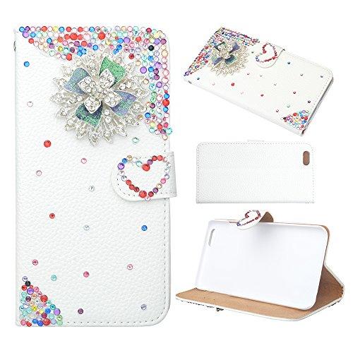 spritech (TM) Luxus PU Leder Tasche Bling Diamant Strass Design Flip Cover Ständer Wallet Blume Elegant Caver Fall, style-5, iphone6 plus/iphone 6s plus (Bling Iphone6 Cover Plus)