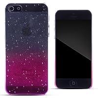Zooky® rosa Regentropfen Plastik Hülle / Schutzhülle / Cover für Apple Iphone 5 / 5S