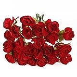 KINGSO Bouquet Lot 144 Rose Artificielle Fleur En Papier Décoration Maison Mariage Baptême Jardin Rouge