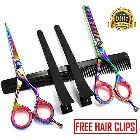Oferta por tiempo limitado - Tijeras profesionales para corte de cabello perfectamente Peluquería, Juego de peluquería tijeras de pelo cortado de acero INOXID 6 + Free Barber Clips