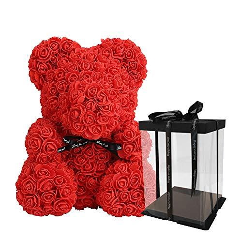 Rosen Bär Teddybär Teddy Bear für Immer Rose Bär Künstliche Blumen Puppen Roman Rose Bär Spielzeug für Jubiläum ,Mutte, Hochzeit, Geburtstag, Valentines Freundin Mom Puppe Geschenk mit Geschenkbox