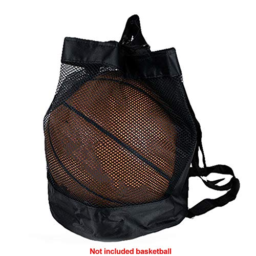 Bclaer72 Netz-Balltasche, tragbar, Oxford-Gewebe, Netztasche, Mehrzweck-Fußball, Basketball, Aufbewahrungstasche für Basketball, Fußball, Volleyball, Tennis, etc, Schwarz, Free Size