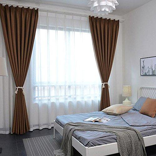 Anhpi ombreggiatura di colore solido di spessore tende finestre dal pavimento al soffitto finestre a bovindo finestre ottagonali camera da letto gancio tende,khaki-1.5 * 2.7m