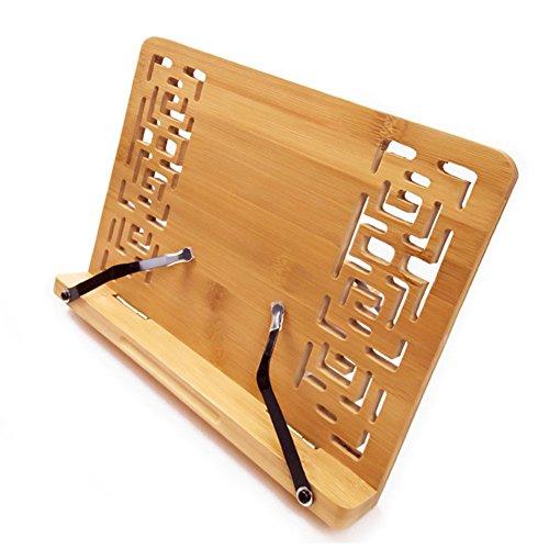 Bamboo Book Ständer–Schreibtisch Lesepult, Rest Halterung Kochbuch kochen Ständer/faltbar Tablet PC Textbook/Musik Dokument Stand mit Retro Hohl - Rezept-halter Ipad Für