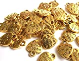 beadsvision 50 Charms Herz Made with Love Anhänger Farbe Gold 12x10mm Schmuckzubehör Metall #S316