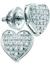 2f82c18f3276 10 kt oro blanco para mujer redondo corazón de diamantes Cluster Stud  Pendientes 1 20