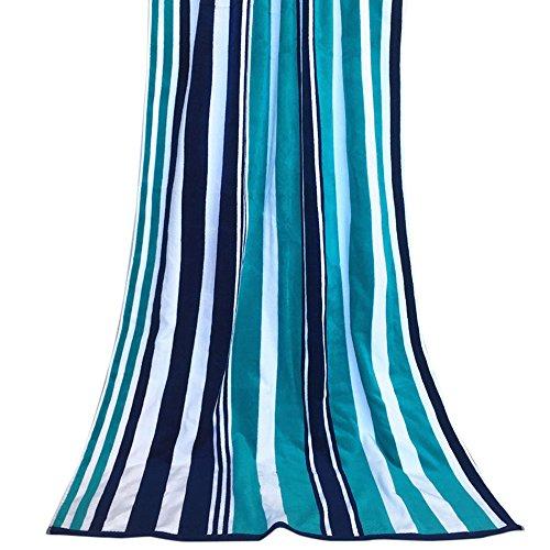 HIFUAR Microfiber Beach Travel Towel with Cabana Stripe Pattern Quick Dry Thicken for Gym 180cmx90cm