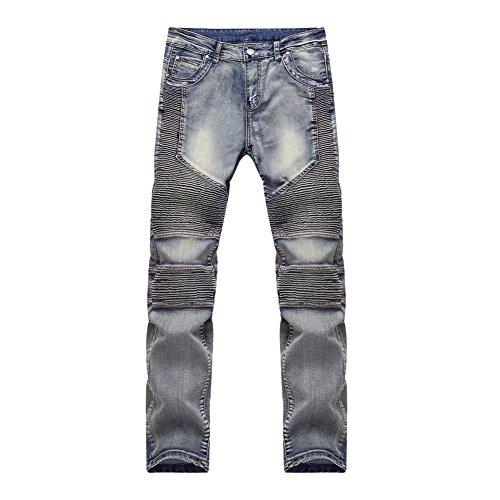 Feinste Herren Slim Fit Jeanshosen Biker Jeans Blau