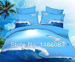 Mouettes Fly Parure Housse de Couette Reine 3D Parure de lit Parure de lit couvre Feuille Parure de lit imprimé Chambre Lit Housse De Couette–Il est pour une seule couleur–par PC/Lot