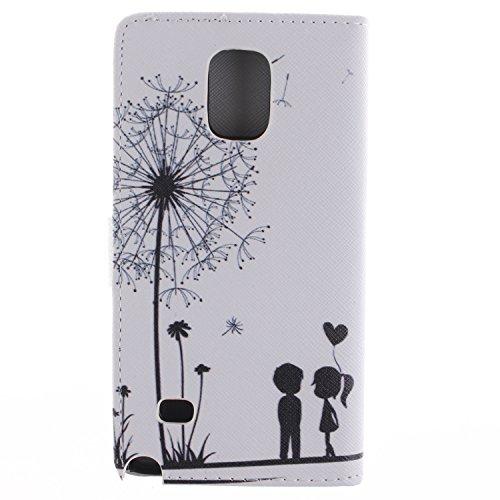 MCHSHOP(TM) Vielzahl von Mustern Book Style Design Leder Tasche Flip Case Cover Schutzhülle Etui Hülle Schale Für Samsung Galaxy Note 4 SM-N910S / SM-N910C mit Kartensteckplätze Standfunktion - 1 Touc Löwenzahn sich verlieben (Dandelions Fall in Love)