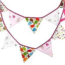 G2Plus encantador banderines de la historieta 304,8 cm de la bandera de la bandera del banderín de guirnaldas de tela triángulo autodhesivos doble cara decoración Shabby Chic Vintage tela para fiestas de cumpleaños ceremonias de dormitorios, rosa