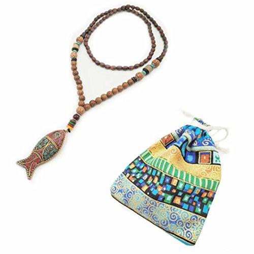 Generic Lange Kette Pullover Halskette für Frauen Mädchen Buddha Bohemia Stil Natur Holz Perle und Stein Anhänger Kleidung Zubehör 100% Handarbeit Perlen Art Weiblich Fashion Lange Halskette