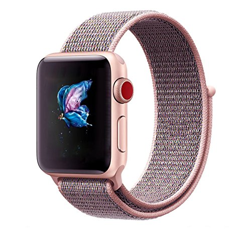 Nylon Apple Watch Cinturino orologio iWatch TStrap Cinturino Morbido traspirante con chiusura regolabile gancio e anello Dimensioni 38MM 42MM per iWatch Series 1, iWatch Series 2, iWatch Series 3, Nike +, Edition