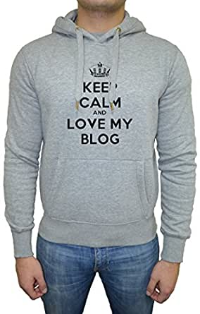 Keep Calm And Love My Blog Men's Sweatshirt Hoodie Pullover Grey All Sizes