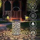 LED Solar Laterne für Draußen, Tencoz Solar Garten Hängende Laterne Zylinderförmige Nachtlicht Wasserdicht mit Lichtempfindlichkeit für Veranda/Rasen/Hof/Gehweg/Auffahrt/Weihnachten