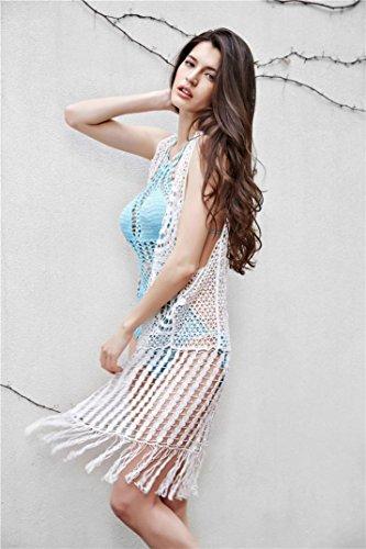 1PCS Frau Ein Stück Häkeln Stricken Monokini Hochdrücken Gepolstert Bikini Badeanzug Badebekleidung Blue