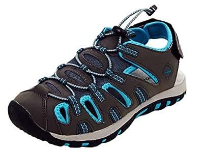 Damen Sandalette Trekking Sandale gr.36-41 in 3 Farben -JK07 (41, Grau)