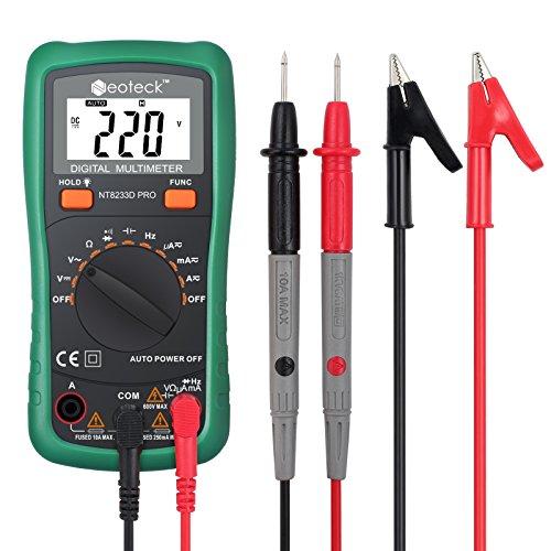 Neoteck Digital Multimeter 2000 Counts Auto Manual Range LCD-Display Backlight 2 Bananenstecker AC/DC Spannung Strom Widerstand Kapazität Frequenz Temperatur für Schule Labor Factory usw grüne