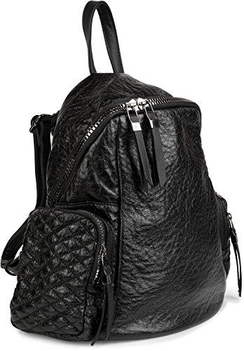 styleBREAKER Rucksack Handtasche in Metallic Stepp Optik und Reißverschluss, Tasche, Damen 02012199, Farbe:Silber Metallic Schwarz metallic