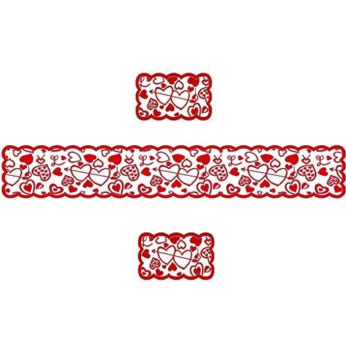 Fiedfikt - set di tovagliette da tavolo per san valentino, decorazione da tavolo a forma di cuore, colore: rosso, multicolore, 3 pezzi