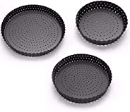 2 PCS 24/20/14CM Carbon Steel Pizza Pans, Perforated Baking Pan With Nonstick Coating, Round Pizza Crisper Tra