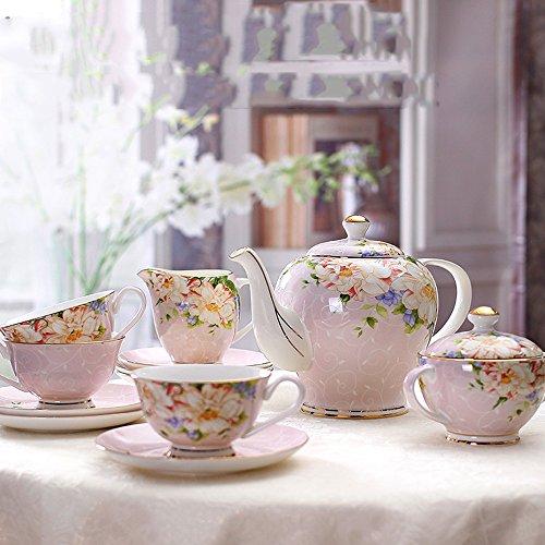 Set de thé / Set en céramique de cadeau de mariage / Set de thé de thé / 21 de thé en os (2 couleurs facultatives) ( couleur : A )