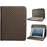 DMG Folio Zippered Bag Protective Cover Case with Card Pockets for Lenovo Tab3 7 inch, Micromax Canvas Tab P290, Samsung Galaxy Tab A, iBall Slide and All 7in Tablets (Textured Brown)