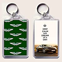 KEEP CALM AND DREAM OF A DB11 Keyring printed on an image of an Aston Martin DB11.