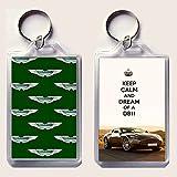 Schlüsselring mit Anhänger, Aufdruck: Keep Calm and Dream of a DB11, mit dem Bild eines Aston Martin DB11