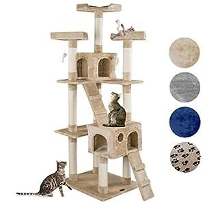 happypet cat002 2 arbre chat griffoir grattoir 182cm beige animalerie. Black Bedroom Furniture Sets. Home Design Ideas