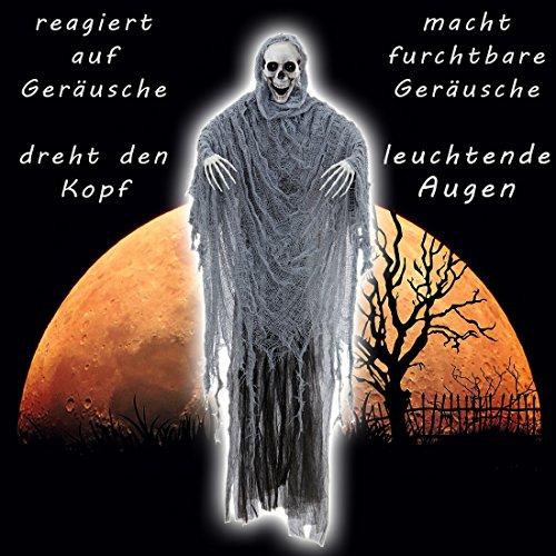 Schreiender Grim Reaper mit Licht und Sound Halloween Deko Skelett 100 cm Sensenmann Hängedeko Horror Dekoration Geist Hängedekoration Totenkopf Mann Partydeko Halloweendekoration