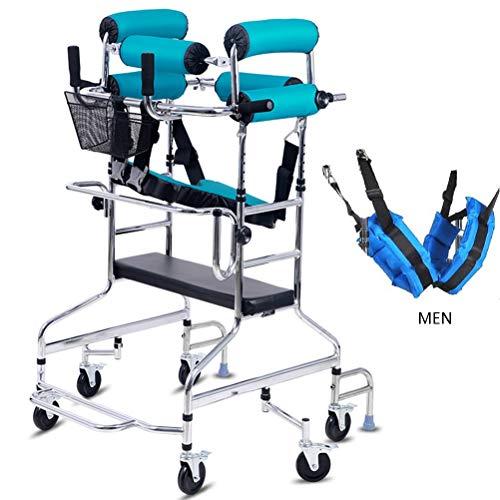 Gehhilfe for die Mobilität, 6 Räder mit stehendem Gehrahmen, höhenverstellbarer Trainer for untere Gliedmaßen, for Behinderte / ältere Menschen, Verhindert die Unterstützung der Rückenrolle, Unterstüt -