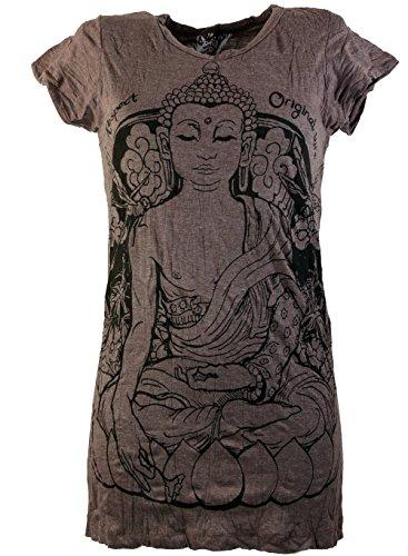 GURU-SHOP Seguro Buda Meditando Camiseta, Café, Algodón, Tamaño:L (40), Camisas Sure`