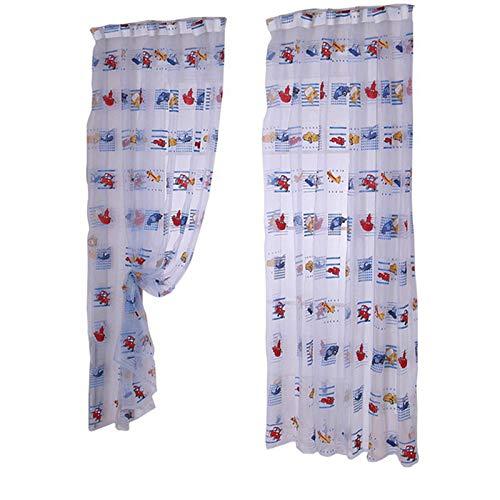 Lifemaison tende voile semitrasparenti con stampati cartoni animati indossare l'asta per bambini finestra 100x200cm