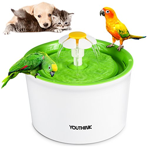 Silent Flower Pet Fountain 1.6L / 56 Oz BPA Free Cats Dogs Birds Water Drinking Bowl Auto Circulating Easy to Operate and Clean , Green(1 Filter, 1 Daisy )