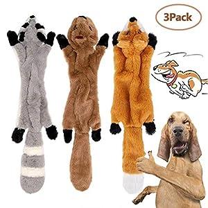 Hund Squeak Toys Details:  Länge: 420mm / 16.54in Material: Plüsch + Tierhaut Simulation Gewicht: 200g   Packliste:  1 * Waschbär Plüschtier 1 * Fuchs Plüschtier  1 * Eichhörnchen Plüschtier  Hinweis:  1. Bitte halten Sie Hundespielzeug weg gesetzt ...